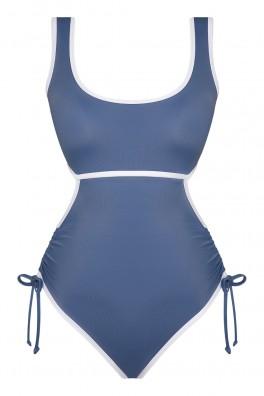 Arni Ruched Cutout ECONYL® Blue Swimsuit